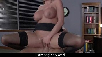 interview office lesbian by boss Nylon toejob cum